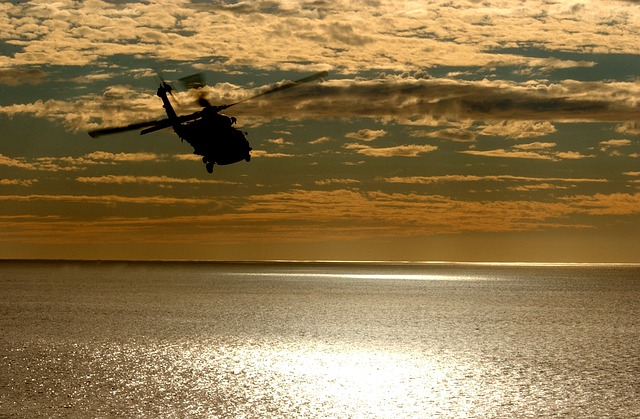 Free helicopter aircraft sunset sky clouds colorful