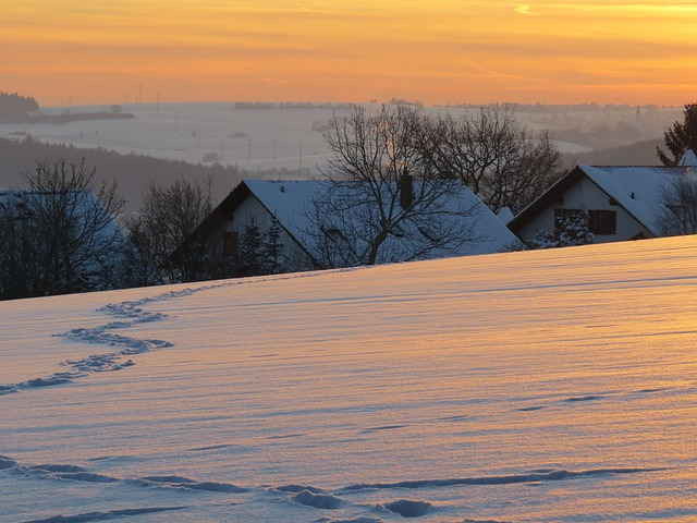 Free abendstimmung winter mood cozy snow landscape homes