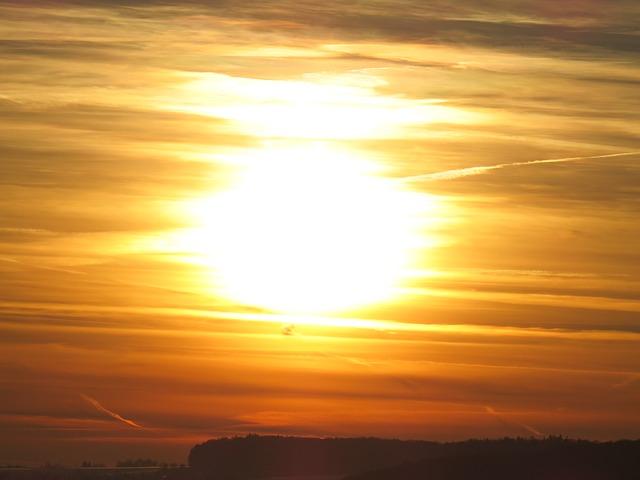 Free sun sunset yellow golden fireball back light mood