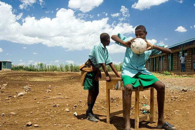 Free kenya boys sky clouds trees soccer football ball