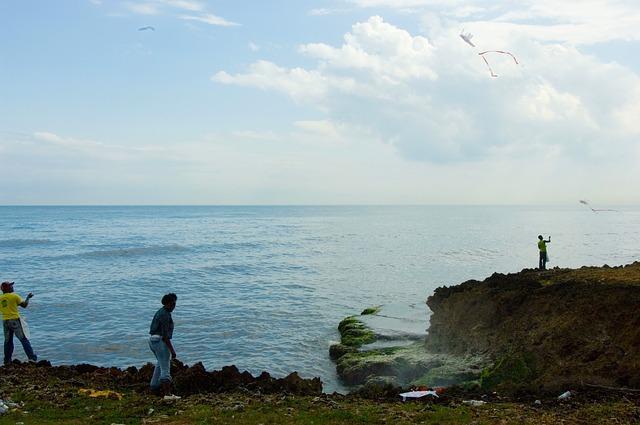 Free dominican republic sea ocean water sky clouds boy