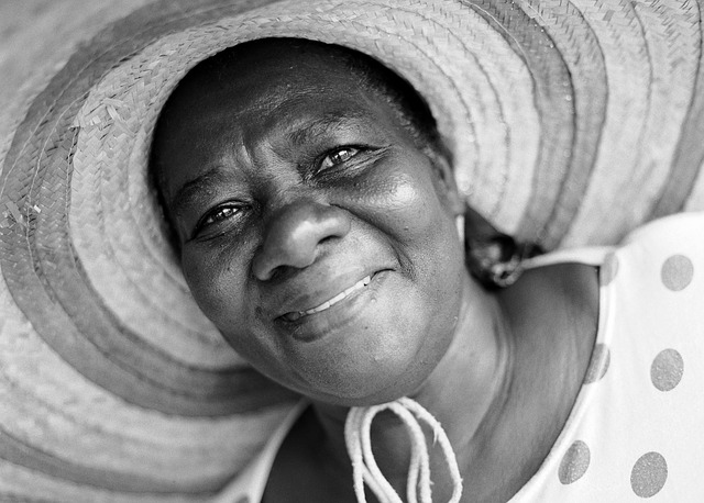 Free woman hat smiling happy black and white portrait