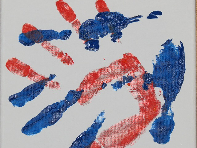 Free hand handprint finger paints watercolor reprint