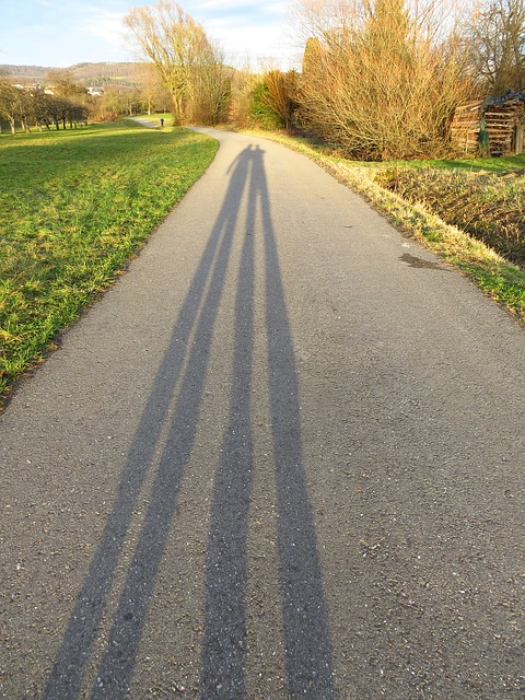 Free away shadow personal human long shadow sun deep