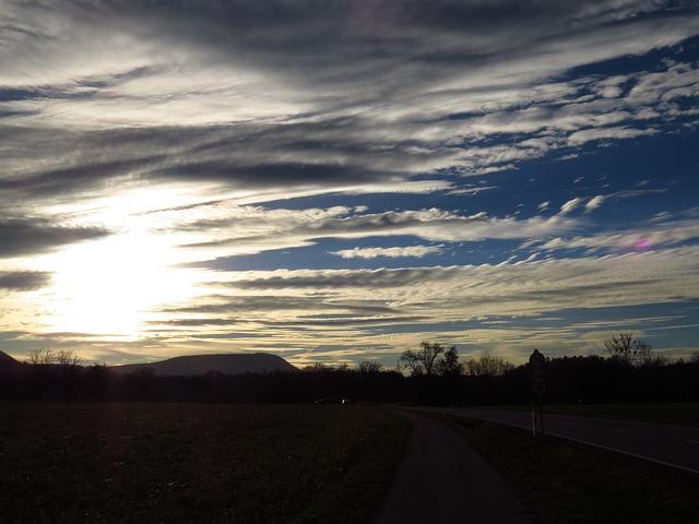 Free sky sunset mood sun golden clouds cloud strips