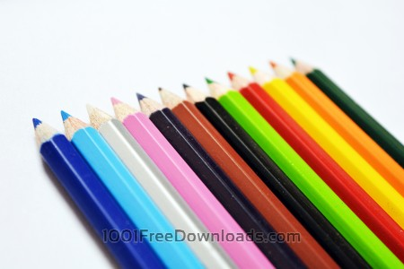 Free Color pencils on white background