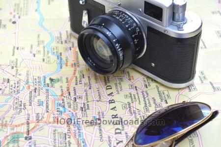 Free Vintage Camera on Map