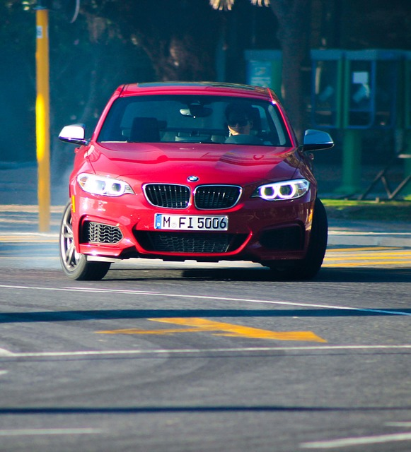Free bmw car red racing drift vehicle road automobile