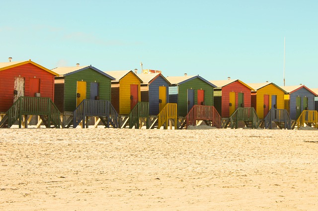 Free beach houses beach sand summer blue red yellow