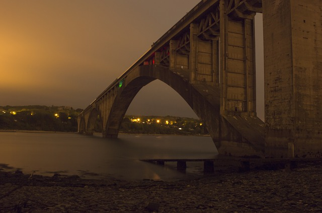 Free bridge night light sea river shore