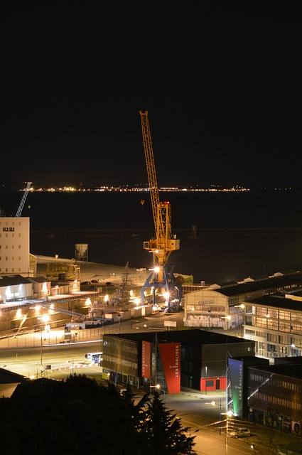 Free brittany commercial port crane port night