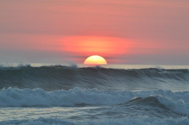 Free sunset ocean water waves tropical coast outdoor