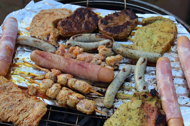 Free sausages barbecue steaks meat grilled food tasty