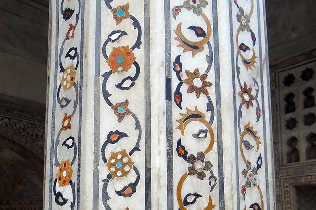Free pillar interior marble inlay precious stones inlaid