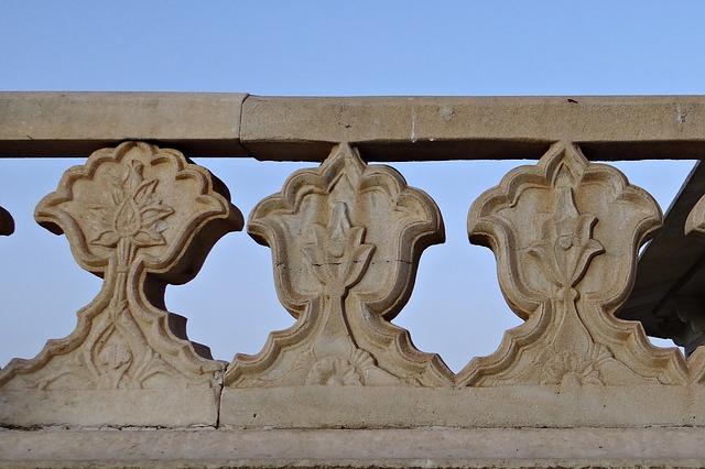 Free deck railing marble white agra fort musamman burj