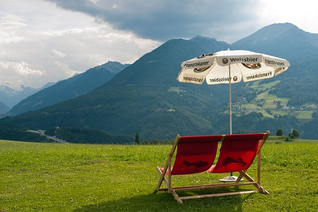 Free deckchair austria double deckchair red sun umbrella