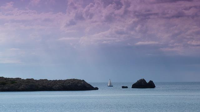 Free sea sailing boat clouds mood coast summer