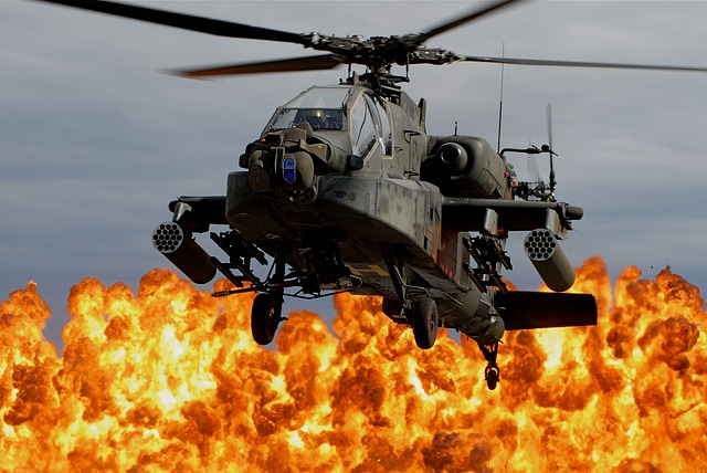 Free helicopter fire explosion war apache helo army