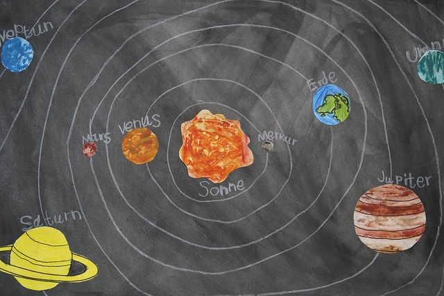 Free chalk drawing celestial body school material plate