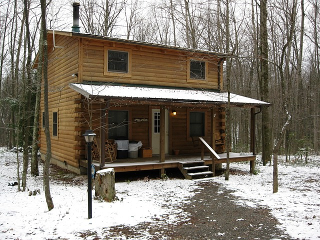 Free log west virginia winter cabin cold nature