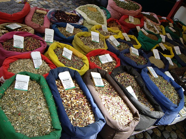 Free market stall teas tee bags market