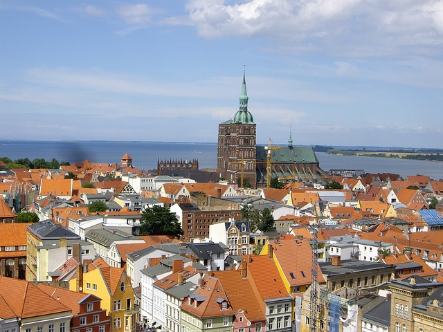 Free stralsund outlook city roofs homes view building