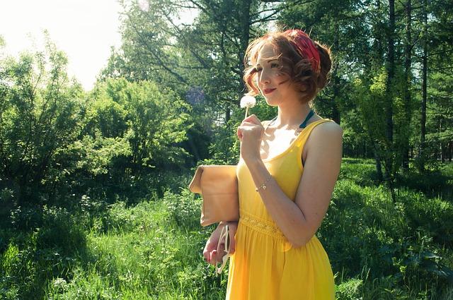 Free girls summer sun stroll dandelion yellow dress