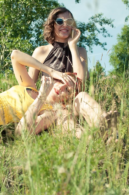 Free girls summer sun smiles joy friends stroll