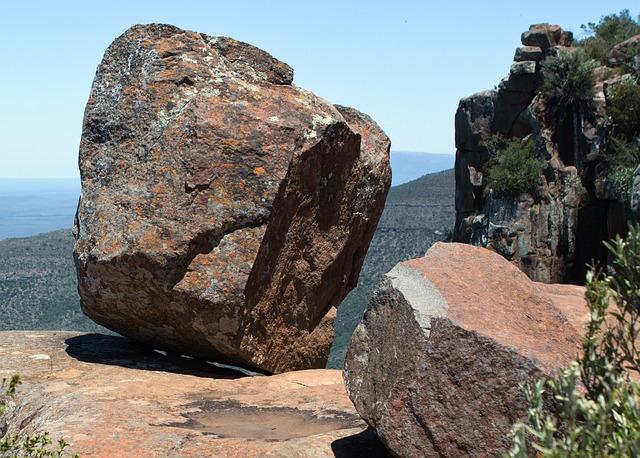 Free rock dolerite rock balanced boulder landscape