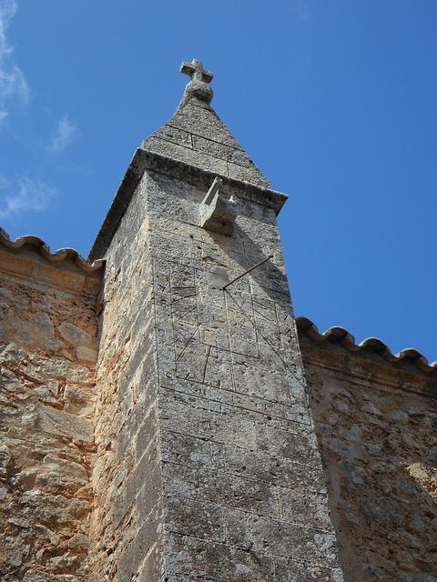 Free sundial church time clock tower spain mallorca