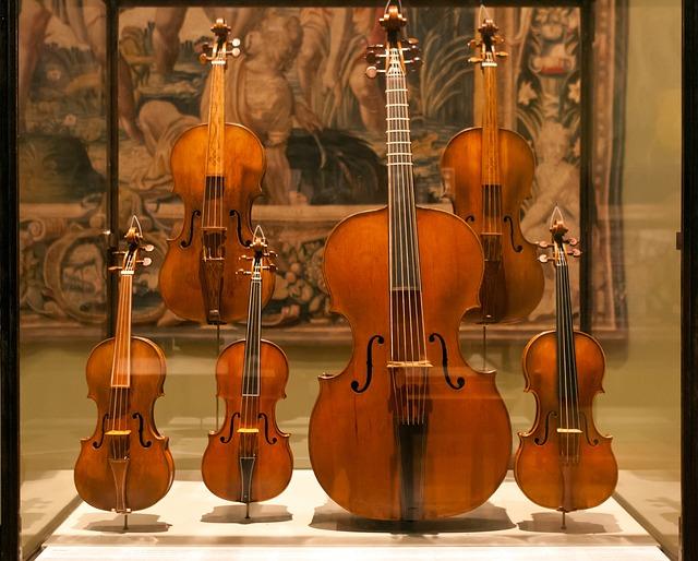 Free display case violins violas cello