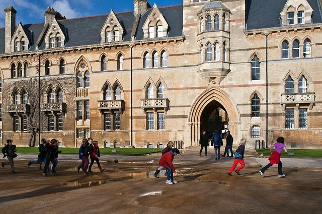 Free oxford running jumping puddles school children