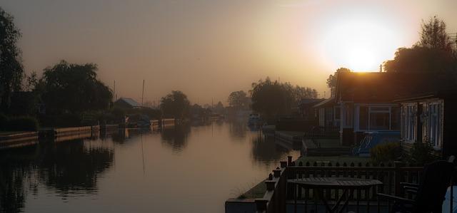 Free river atmospheric boat norfolk broads uk landscape