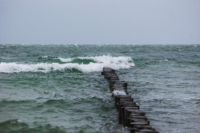 Free breakwater sea wave water spray stormy windy
