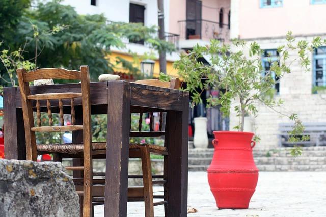 Free cafe restaurant greece break travel blank wood