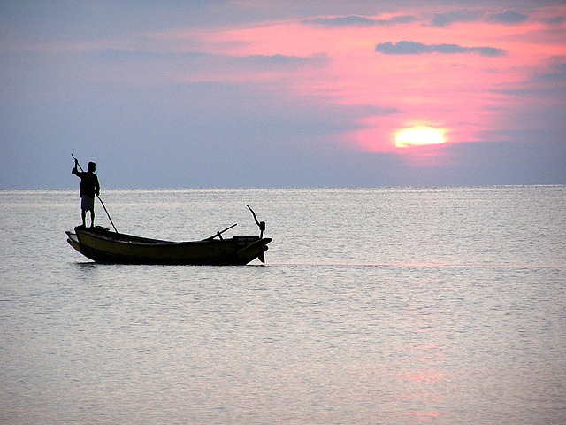 Free sea fishermen sunset boat