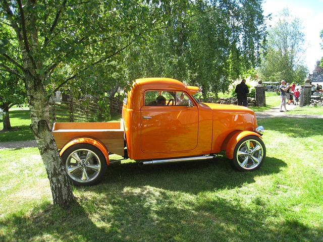 Free car show truck orange grass tree people skara