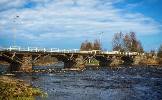 Free finland bridge scenic river water sky clouds