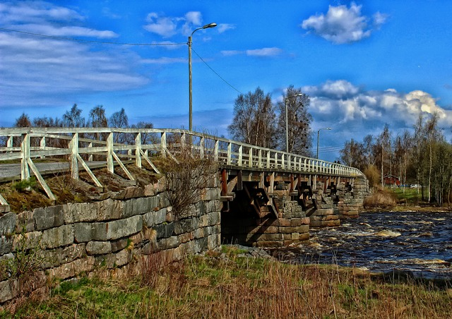 Free finland bridge river water nature outside hdr