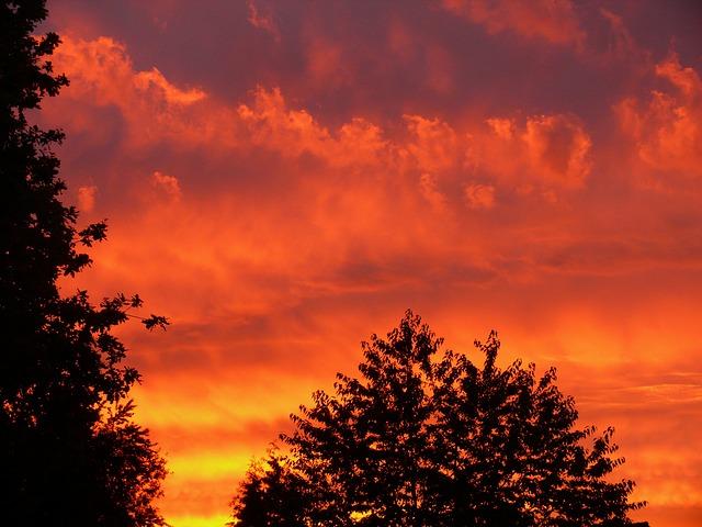 Free sunset red sky clouds orange mood evening