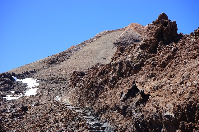 Free trail teide summit rise path lava lava flow