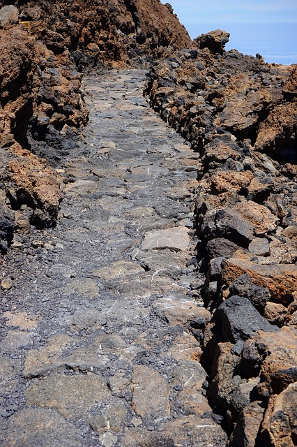 Free trail away path lava lava rock basalt teide
