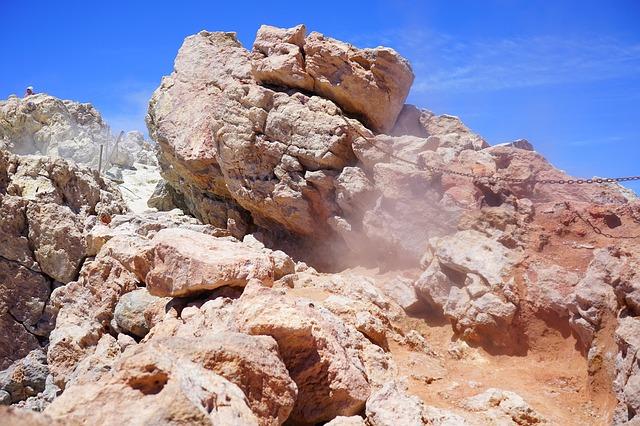 Free volcano steam sulfur vapor crater rim teide