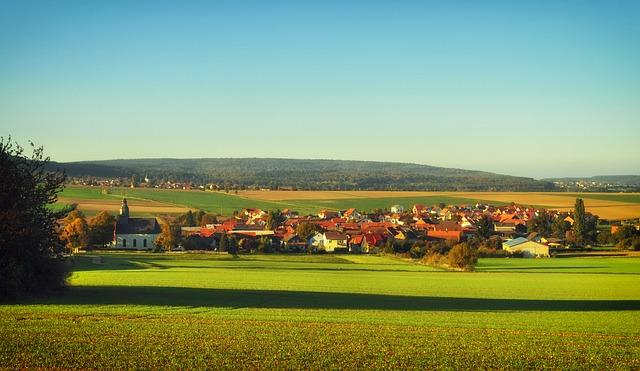 Free fauerbach germany village town fields landscape