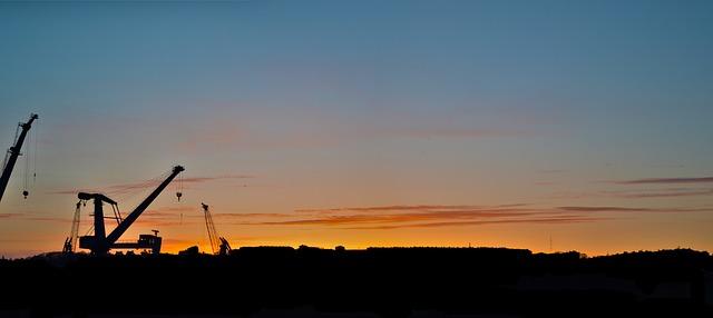 Free crane sunset sky evening horizon brest ports
