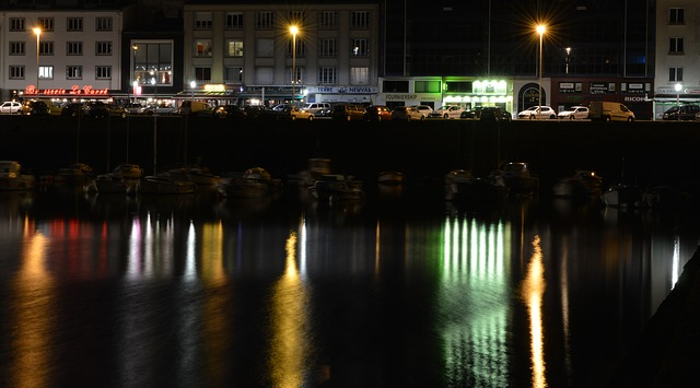 Free lights port reflection night luminous signs brest