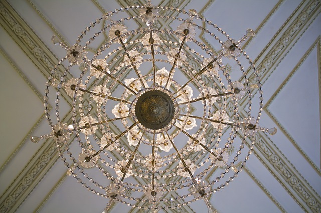 Free ceiling lamp spider decoration paneling detail