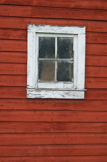 Free window old barn red vintage wall building