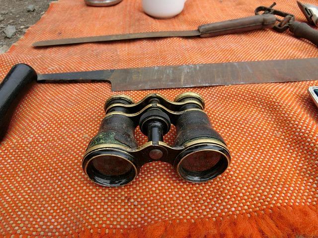 Free binoculars junk antique flea market were used spy