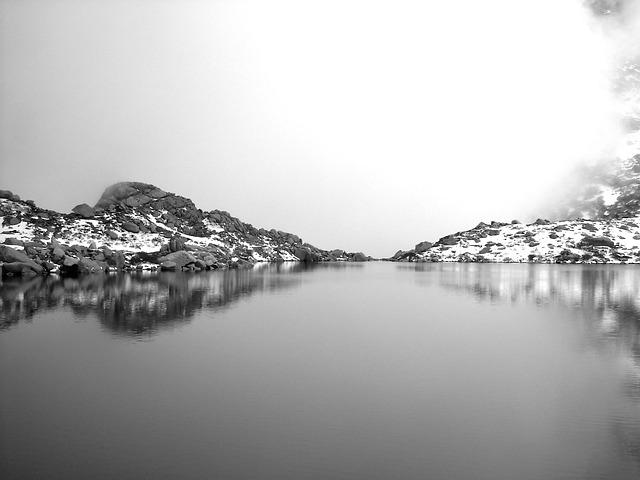 Free lake snow mountain winter nature white grey rock
